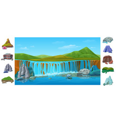 cartoon colorful beautiful nature landscape vector image vector image