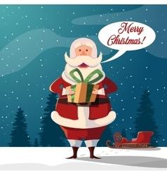 Cartoon santa claus merry christmas vector