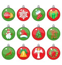 Christmas balls icons set vector image