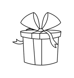Christmas gift box wrapped bow outline vector