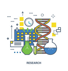 Concept of research color line icons vector
