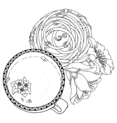 Cup of coffee with floral mandala circle for web vector