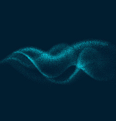 digital flow wave with particles in motion vector image
