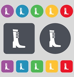 Female fall and winter shoe boot icon sign a set vector