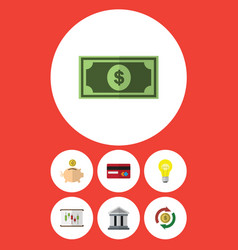 Flat icon finance set of bank diagram vector