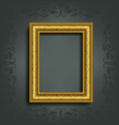 Golden frame on grey vector