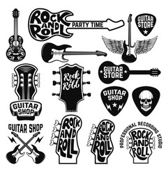 guitar store labels and design elements design vector image