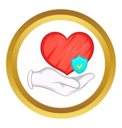 Hand holding red heart icon vector