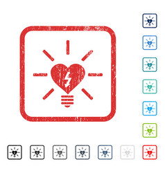 Heart electric bulb icon rubber watermark vector