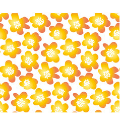 hot orange color summer floral in retro 60s style vector image vector image