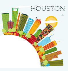 Houston skyline with color buildings blue sky and vector