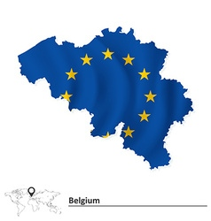 Map of Belgium with European Union flag vector image