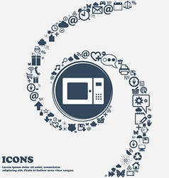 Microwave icon in the center around the many vector