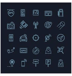 navigation icons on a black background vector image vector image