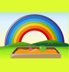 park scene with sandpit and rainbow vector image vector image