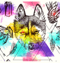 Seamless pattern sketching of husky vector
