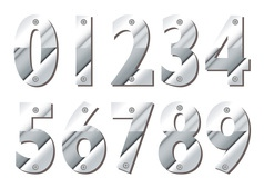 Silver numbers vector image vector image