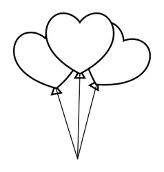 Three hearts icon outline style vector