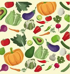 Vegetables fresh ingredients seamless pattern vector