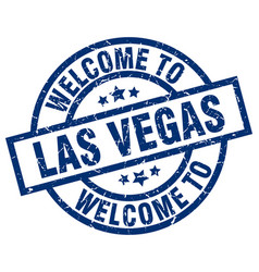 Welcome to las vegas blue stamp vector