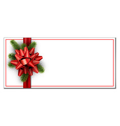 white christmas banner with red bow vector image vector image
