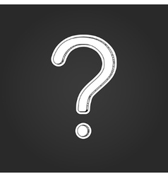 White question mark with shadow on black vector image