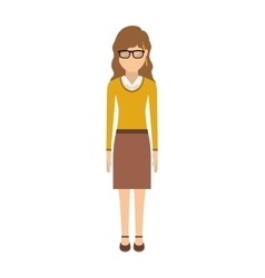 Woman with wave hair and skirt vector