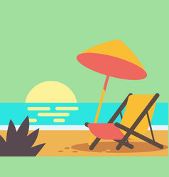 wooden beach chair on beach vector image