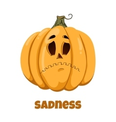 Pumpkin for halloween emotions sadness vector