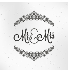 Mister and Miss Wedding Logo Design Background vector image