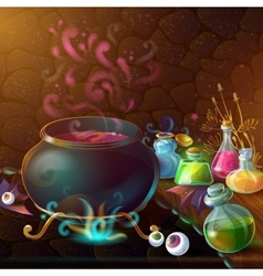 Magic bottles of potion composition vector
