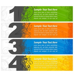 Set of colored number banners vector