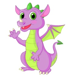 Cute baby dragon cartoon waving vector image
