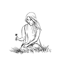 Hand sketch woman sitting in grass vector