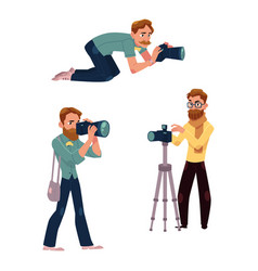 Set of cartoon photographers at work vector
