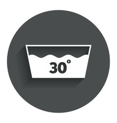 Wash icon machine washable at 30 degrees symbol vector