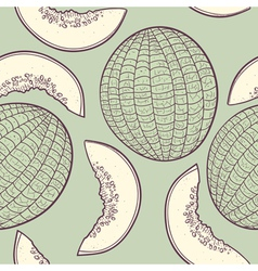Stylized seamless pattern with melon vector