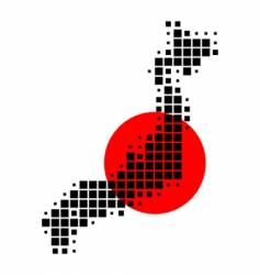 Map and flag of japan vector