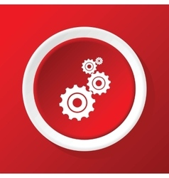 Gears icon on red vector