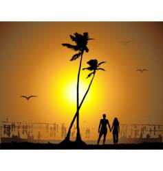 Tropical sunset beach vector
