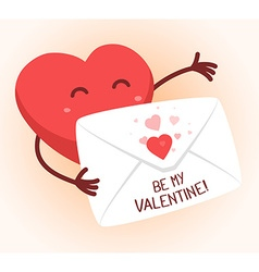 Red heart holding envelope on white backg vector