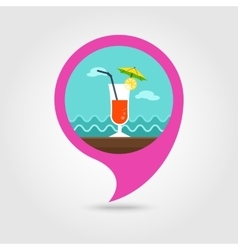 Cocktail pin map icon summer vacation vector