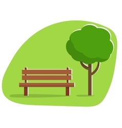 Bench under a tree in the park vector