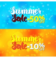 Summer sale promo banners over abstract blurred vector