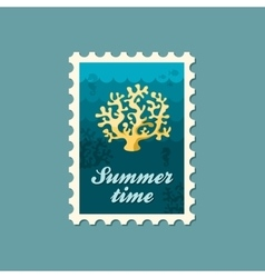 Coral stamp summer vacation vector