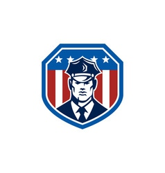American security guard flag shield retro vector