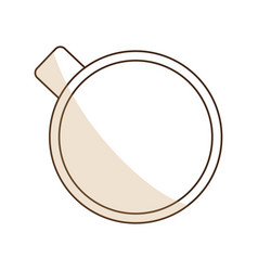 brown silhouette shading of top view cup of coffee vector image