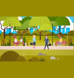 Businesspeople walking in urban park over people vector