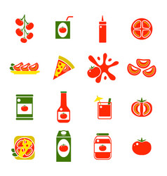 cartoon tomato products color icons set vector image vector image