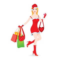 christmas girl shopping vector image vector image